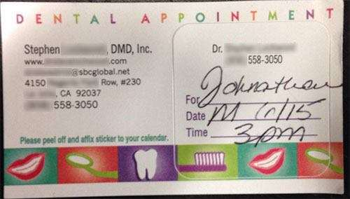 An example of a dental appointment card.