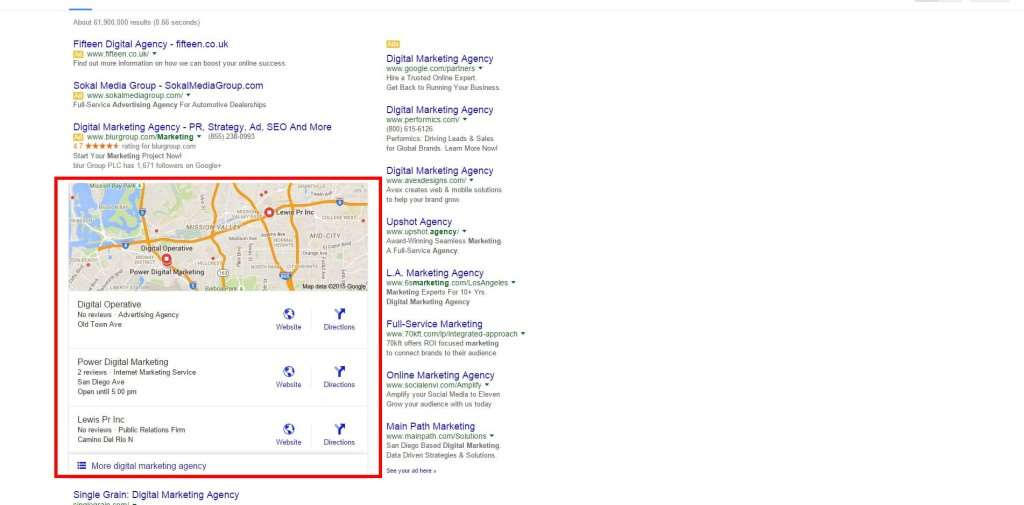 Visual reference of Google Local Pack.