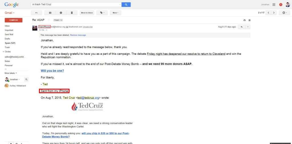 Ted Cruz email