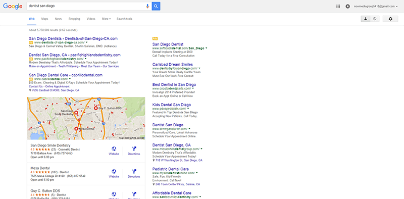 Example of the above-the-fold Google results page.