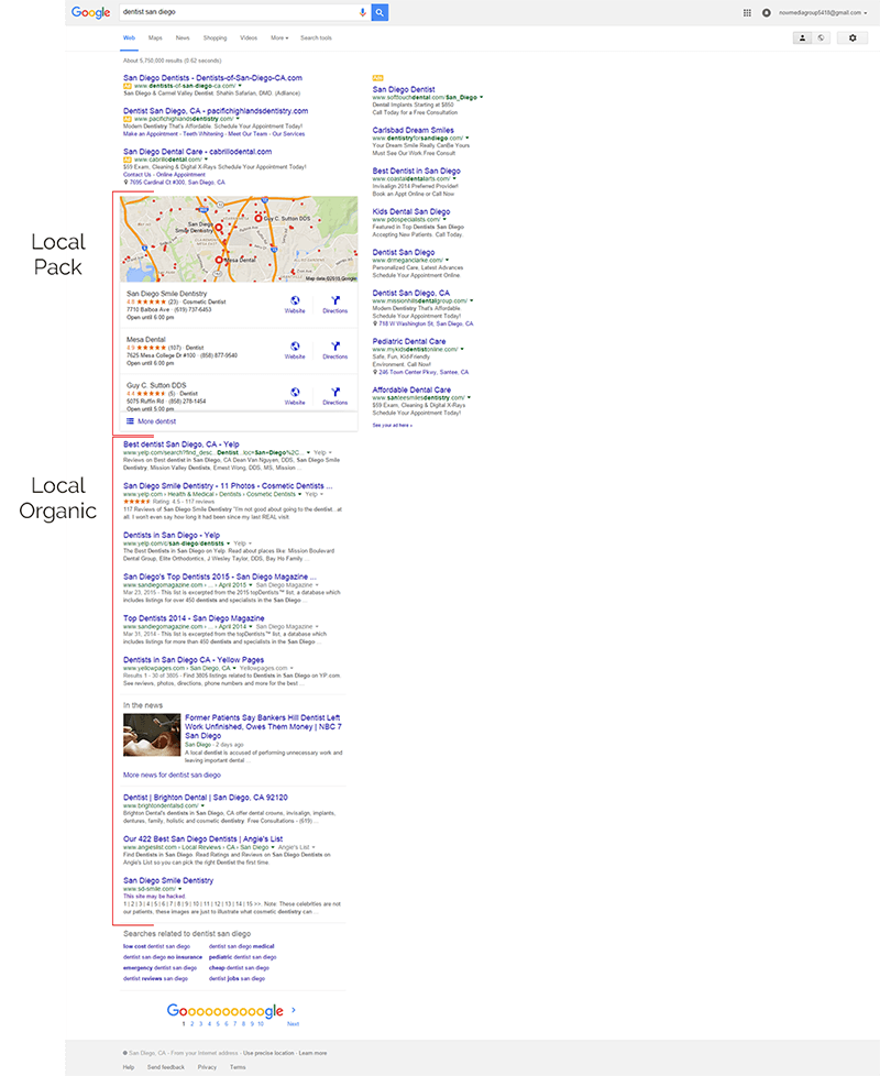 Example of the full Google results page.