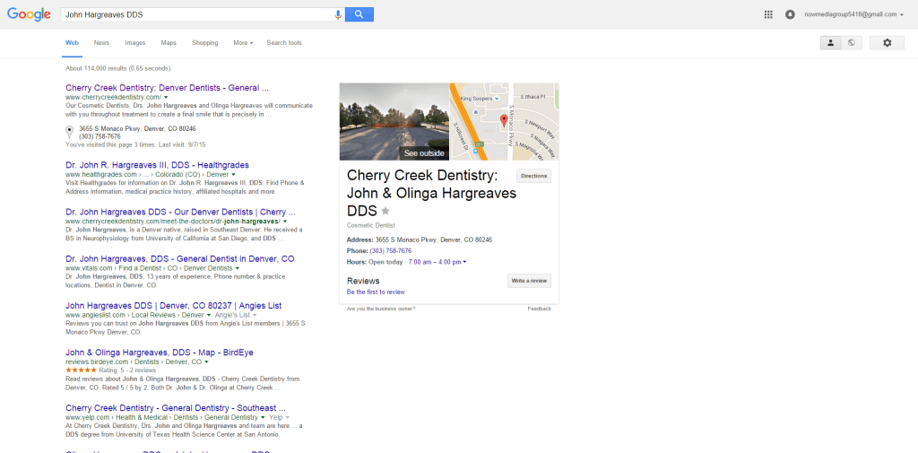 SERP for John Hargreaves DDS.