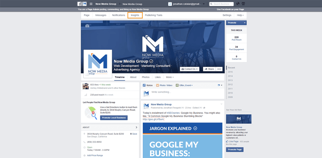 How to find your Facebook insights.