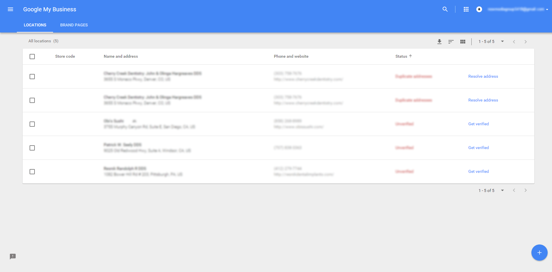 What the Google My Business manager view looks like in list view.