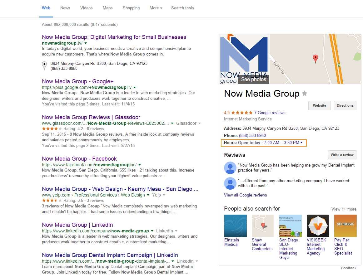 What your Google listing looks like to the searcher.