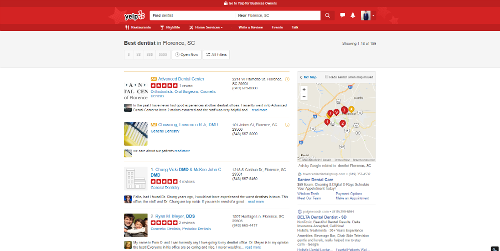 A Yelp enhanced listing taking the pole position on a Yelp Search.
