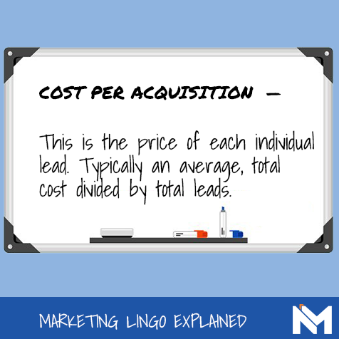 Definition of cost per acquisition for Google AdWords.